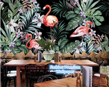 beibehang Hand painted wall paper European idyllic flamingo tropical rainforest Southeast Asia mural background 3d wallpaper