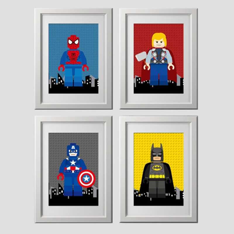 Детская супергерой настенная Художественная печать на холсте плакат с изображением Человека-паука, мультфильм супергерой Бэтмен холст живопись дети мальчик спальня настенный Декор