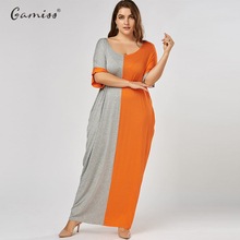 Women Round Neck Long Sleeves Color Block Baggy Party Casual Straight Maxi Long Dress Kaftan Vestido Plus Size