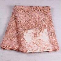 3D Kwiat Aplikacja Francuski Oczka Koronki Tkaniny Z koralikami W Różowy Suknia Ślubna Tiul Koronki Gipiury Tkaniny Netto 3D HL06-1