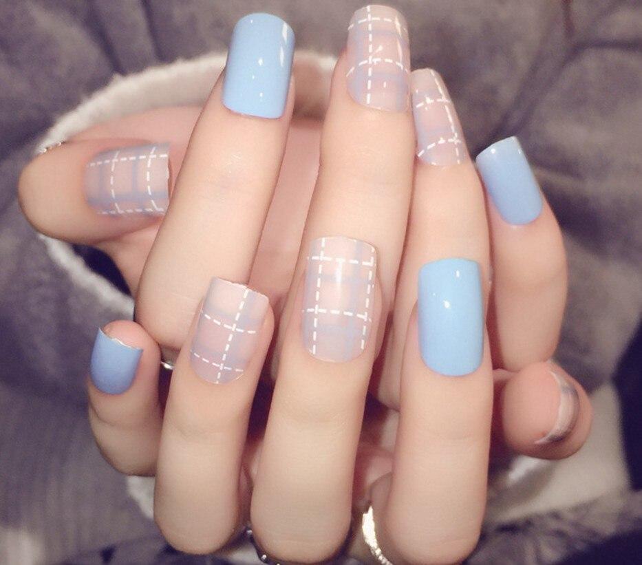 New 24Pcs/Set fake nails Japanese Cute false nails kit acrylic short ...