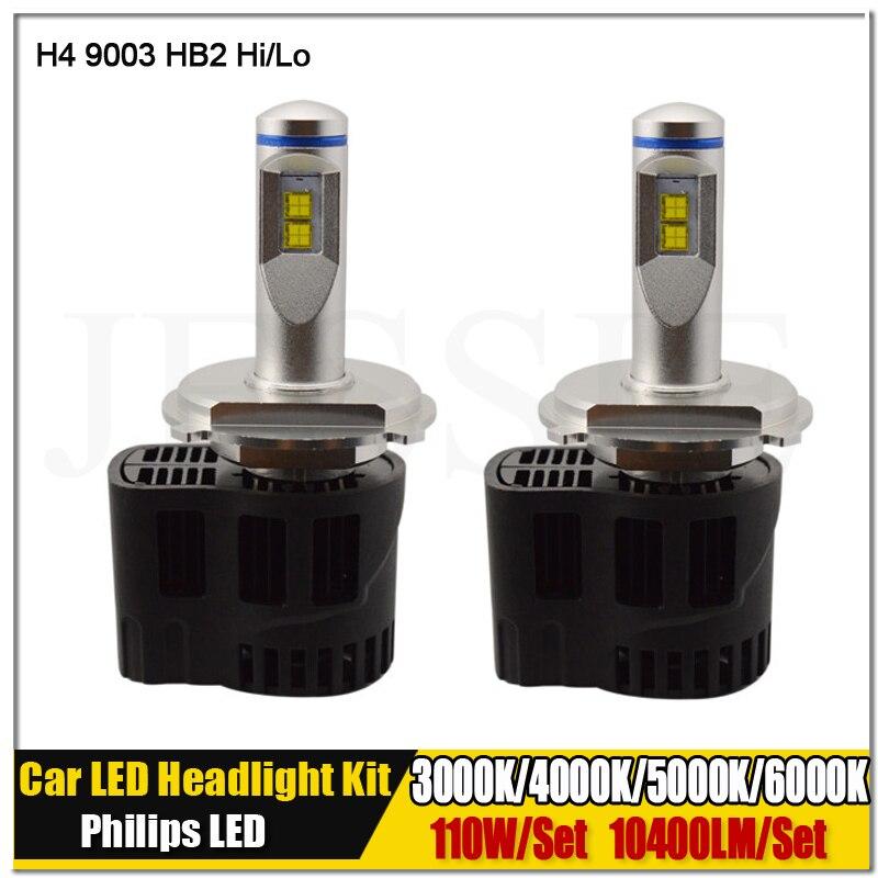 1Set Newest 110W 10400LM WHITE H4 9003 HB2 H4-3 Hi/L LED Headlight Conversion Kit Light Bulbs 3000K 4000K 5000K 6000K 12V 24V anti interference 2x new h4 9003 hb2 180w 30000lm led headlight kit hi lo beam bulbs 6000k 2018