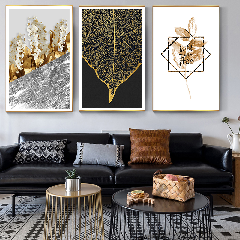 Nordic Golden Plants Flowers Leaf Canvas Painting Poster Print Unique Decor Wall Art Pictures For Living Room Bedroom No Framed