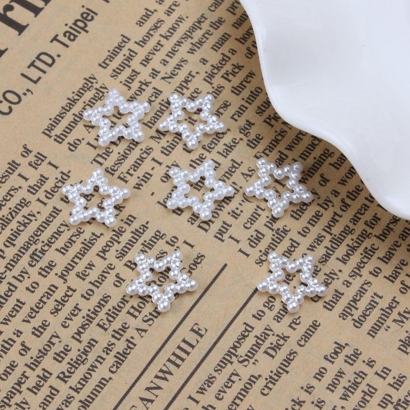100 шт. полые звезды белый искусственный жемчуг Свободные Распорки ремесла украшения для DIY Браслеты Изготовление ювелирных ожерелий 12 * мм 12 мм