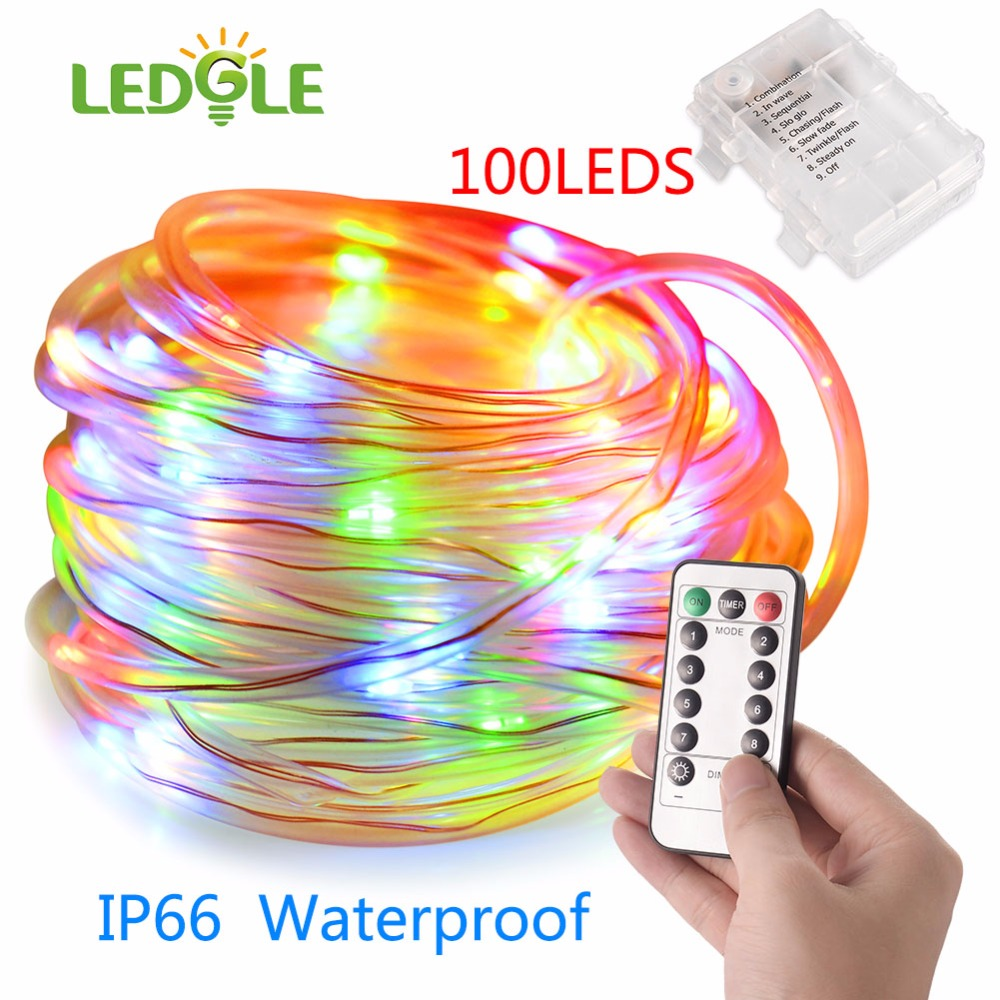 LEDGLE 100LEDS IP66 2Color Battery Waterproof Led Copper Wire String Lights Christmas Festival Wedding Party Decoration