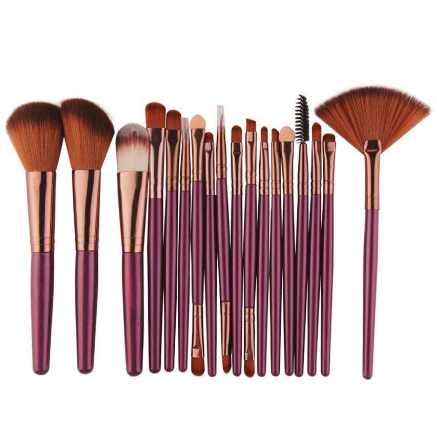 2017 hot sale Makeup Brush New 18 pcs Makeup Brush Set tools Make-up Toiletry Kit Wool Make Up Brush Set P beauty health 17Jan 4