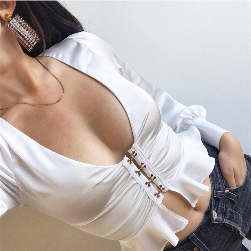 NiceMix 2019 v neck shirt sexy women ruggles hem buttons lim short blouse long sleeve fashion vintage blouse high street blusas in Blouses amp Shirts from Women 39 s Clothing