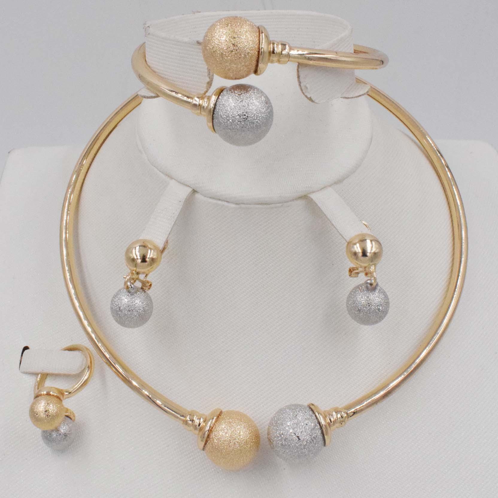 3 tones New High Fashion Dubai Jewelry Set  Nigerian Wedding African Beads Jewelry Sets