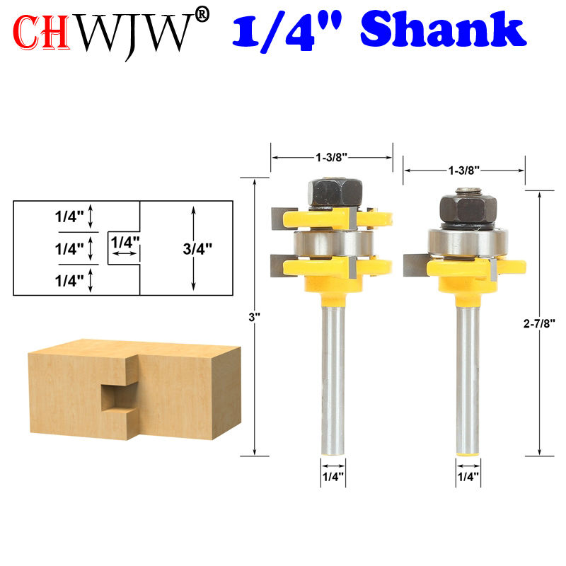 2pcs Tongue and Groove Router Bit Set 1/4 x 1/4 - 1/4 Shank Woodworking cutter Tenon Cutter for Woodworking Tools 2 pcs tongue groove router bit 1 4 shank huge crown molding tenon line cutter