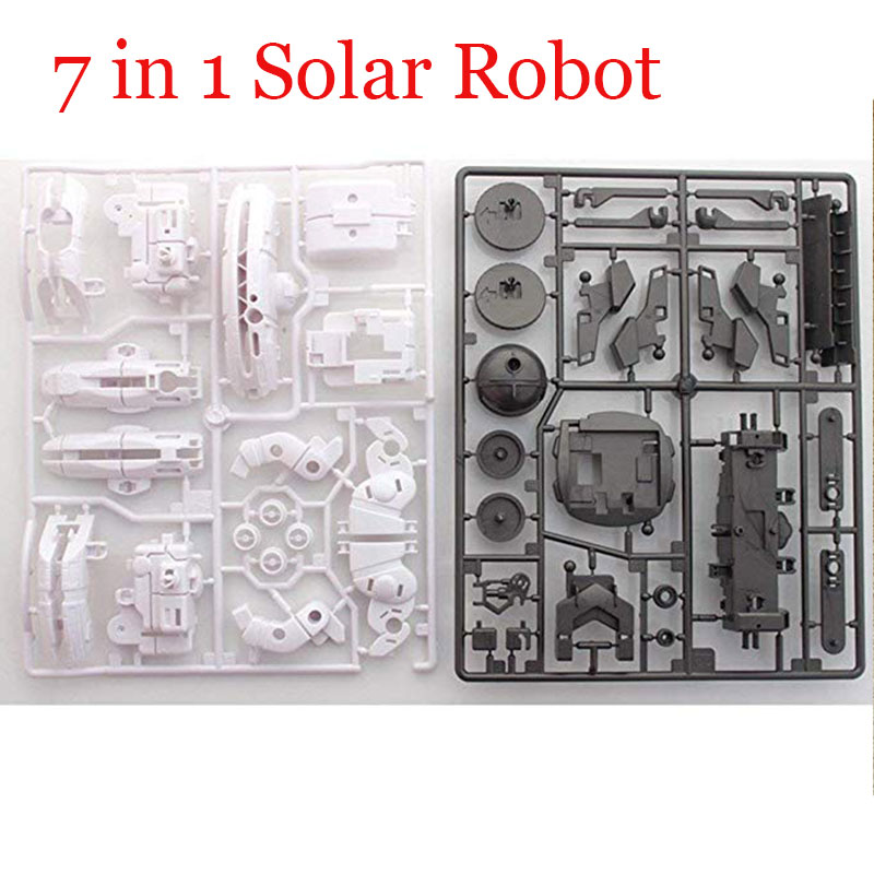 7 In 1 Solar Robot Educational DIY Kit Toy Sunlight Powered Sunscreen Energy Battery Puzzle Mounted Car Gadget Space Fleet