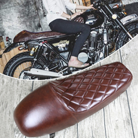 Mayitr 1 pc Universal Vintage Hump Styling Design Motorcycle Custom Cafe Racer Seat Saddle Brown for Motorcycle Seat Cushions