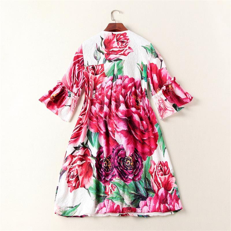 Npd0891n Femmes O Manches Robes Flare Lâche cou Designer Qualité Occasionnel Imprimé Piste 2018 Robe De Haute Za1wUZrqB