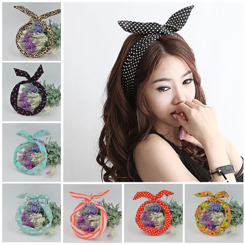 1Pc Cute Leopard Dots lip print flower Bunny Rabbit Ear Ribbon Headwear Hairband Metal Wire Scarf Headband Hair Band Accessories 网 红 小 姐姐