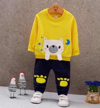 2018 Spring Children Clothing Set Boys Girl Cotton Sweat Shirt Pullover 1 2 3 4 years old Baby Clothes Two Piece Set QHQ025