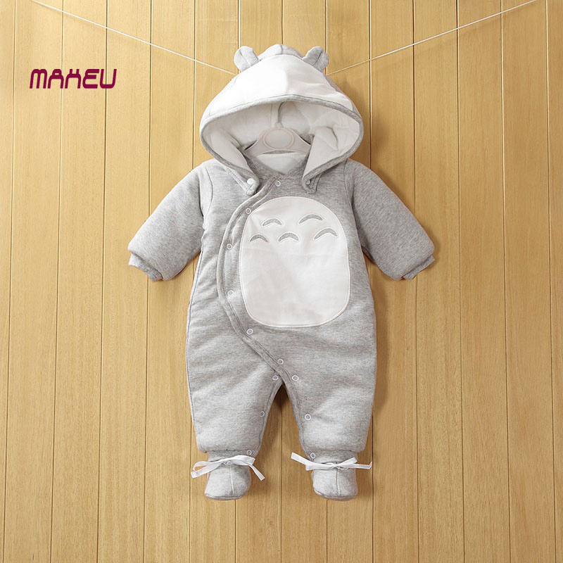 2017 New Clothes Detachable Newborn Baby Cotton One-piece Thick Hooded Baby Warm Winter Clothes Romper Animal Style Totoro