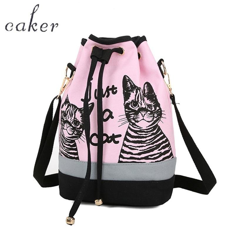 Caker 2017 Women Drawstring Backpacks Pink Blue Large Backpack Letter Cat Print Preppy Style Canvas School