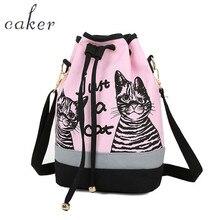 Caker 2017 Для женщин Drawstring Рюкзаки розовый синий большой рюкзак письмо Кот печати элегантный дизайн холст школьная сумка Дорожные сумки