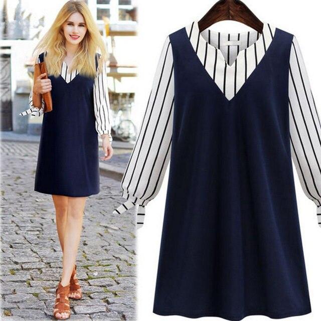 2018 nový evropský americký styl letní ležérní 1ks žena volná plus velikost 4-5XL modrá s dlouhým rukávem pruhované šaty s výstřihem do V