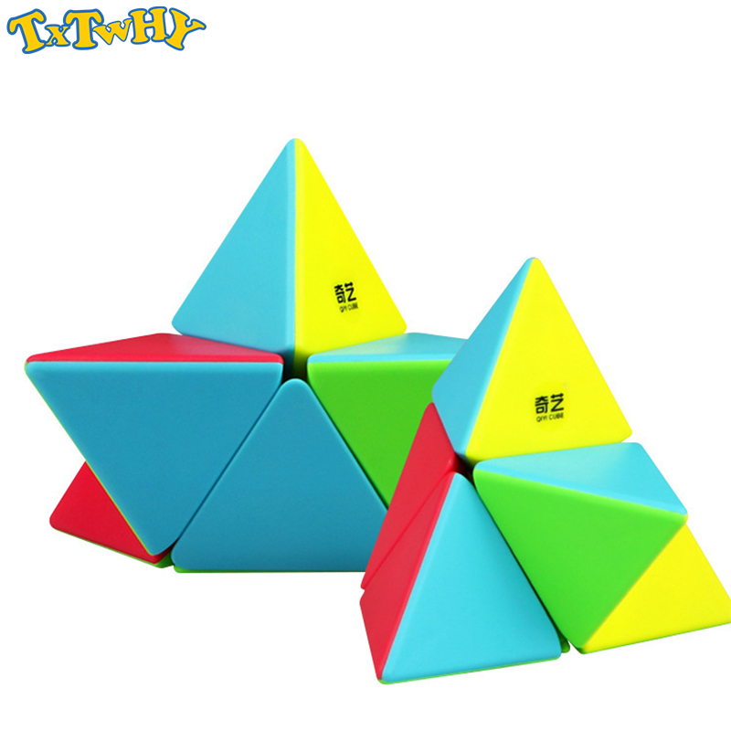 QIYI 2x2 pyramid cube stickerless magic cubes professional 2x2x2 puzzle speed educational toys for children