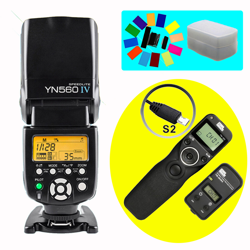 YONGNUO YN560IV YN560 IV Wireless Flash Speedlite & Pixel TW-283 S2 Timer Remote Control For Sony A58 A6000 A7 A7r A3000 RX100II