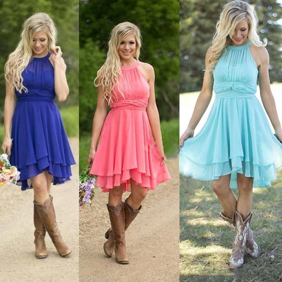 2018 Short   Bridesmaid     Dresses   Light Sky Blue Watermelon Royal Halter Knee Length Chiffon Plus Size Country Wedding Party   Dress