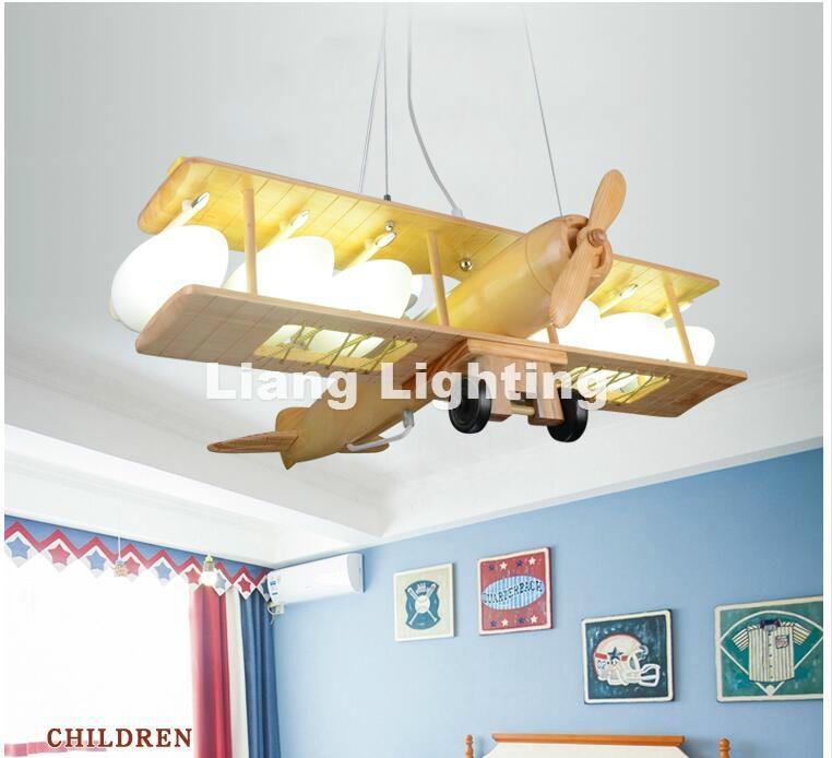 Newly Children Plane Pendant Lamp Modern Raw Wooden Design Pendant Lights Fixture Kids Children Bed Room Lighting Free Shipping