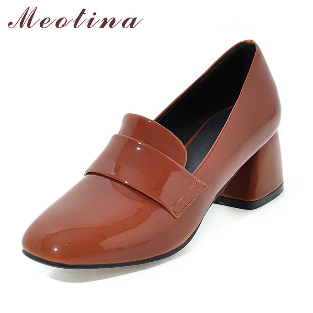 e41d32b64bde € 35.79 |Meotina Zapatos Tacones altos Bombas moda Tacones altos vestido de  charol Tacones Square toe mujeres Zapatos marrón Rosa tamaño grande 34 ...