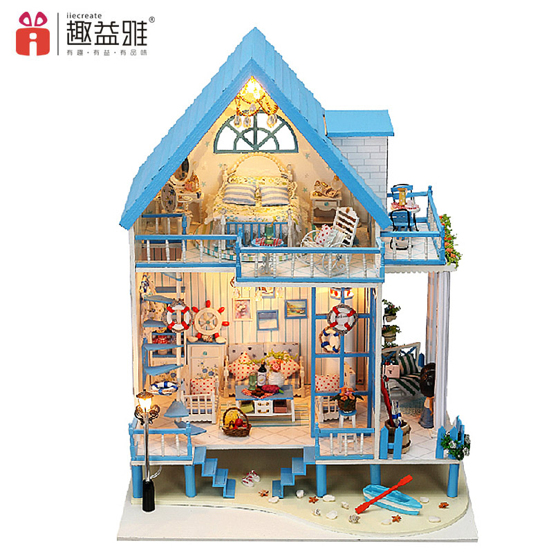iiE CREATE Doll House Miniature DIY Model Building Kits with Furnitures Handmade Wooden House Toys for Children Birthday Gift
