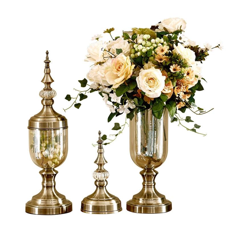 Blumenvase Bronze Hohen Glas Vasen Dekoration Vase Bonbonglas Tapletop Dekorationen Wohnzimmer DekorationChina