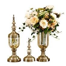 Flower vase bronze Tall glass vases Decoration vase Candy jar Tapletop vases decorations Living room decoration