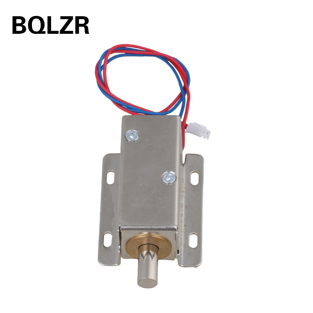 BQLZR DC12V 0.6A 10mm Stroke TFS-A21 Silver Cabinet Door Electric Lock Assembly Solenoid Round Head latch jd 57 1 14 truck head latch assembly