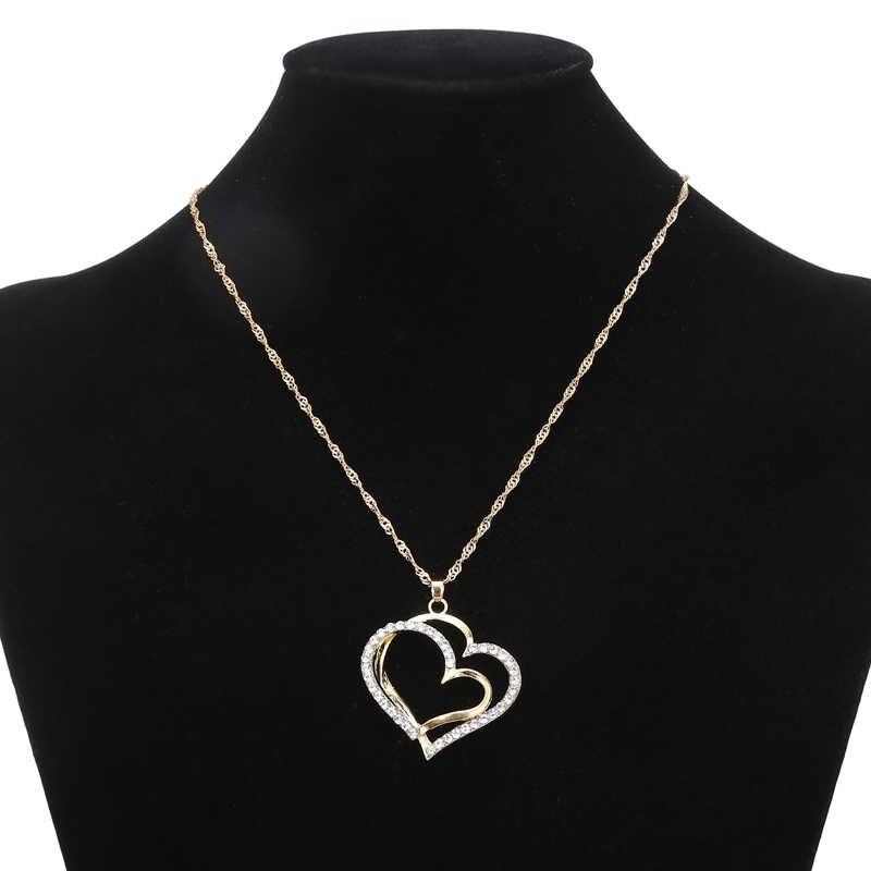 XIYANIKE Romantische Herz Muster Kristall Ohrringe Halskette Set Gold Silber Farbe Kette Schmuck Sets Braut Hochzeit Schmuck N416