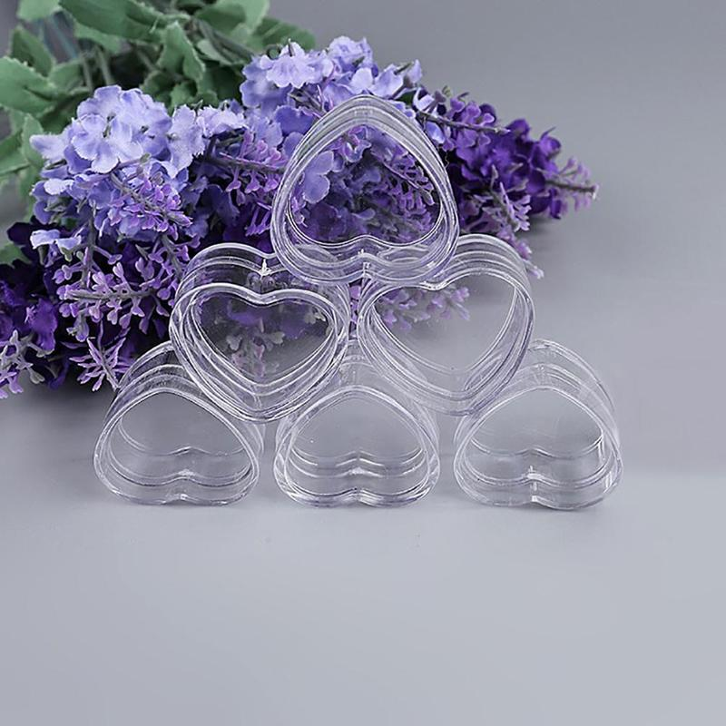 1/5/10Pcs Plastic Heart Shape Empty Cosmetic Lip Balm Cream Pot Jar Box Container