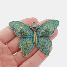 2pcs Antique Greek Bronze Verdigris Patina Large Butterfly Charms Pendants for Necklace Statement Jewelry Findings