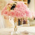 Brand cloth marriage room table lamp bedroom bedside lamp wedding gift roses romantic pastoral style