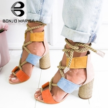 BONJOMARISA New INS Hot Sale Hemp Rope High Heels Sandals Women 2019 Summer Fashion Large Size 35-43 Colored Shoes Woman