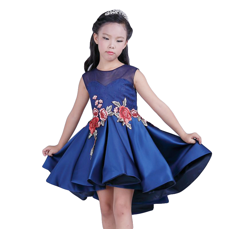 Formal Evening Gown embroidere Wedding Princess Dress Girls Children Clothing Kids Dresses for Girl Clothes Smearing Party Dress