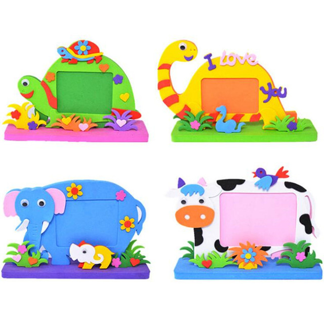 Cartoon Animals DIY Handmade EVA Photo Frame Children Boy Girl Kindergarten Early Learning Toys Gift Birthday Party Favors