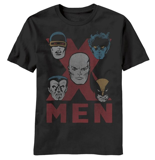 T Shirt Men Casual Cotton Short Sleeve Marvel X-Men All the Exes Men's Black T-shirt O-Neck Stylish