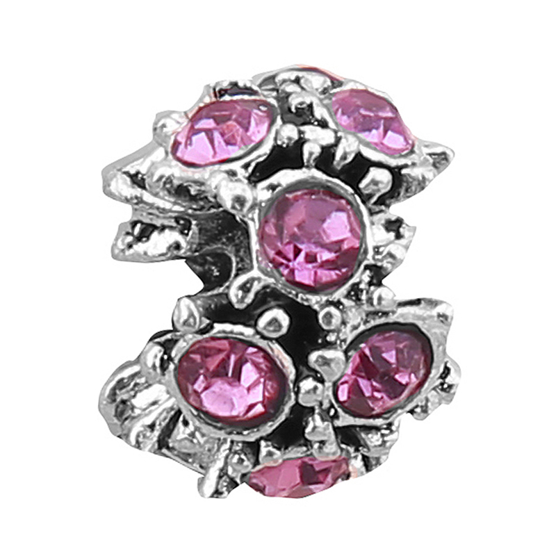 free shipping 1pc Silver Flower with Purple Crystal Rhinestone bead charm Fit European Pandora Charm Bracelets Women Diy Jewelry