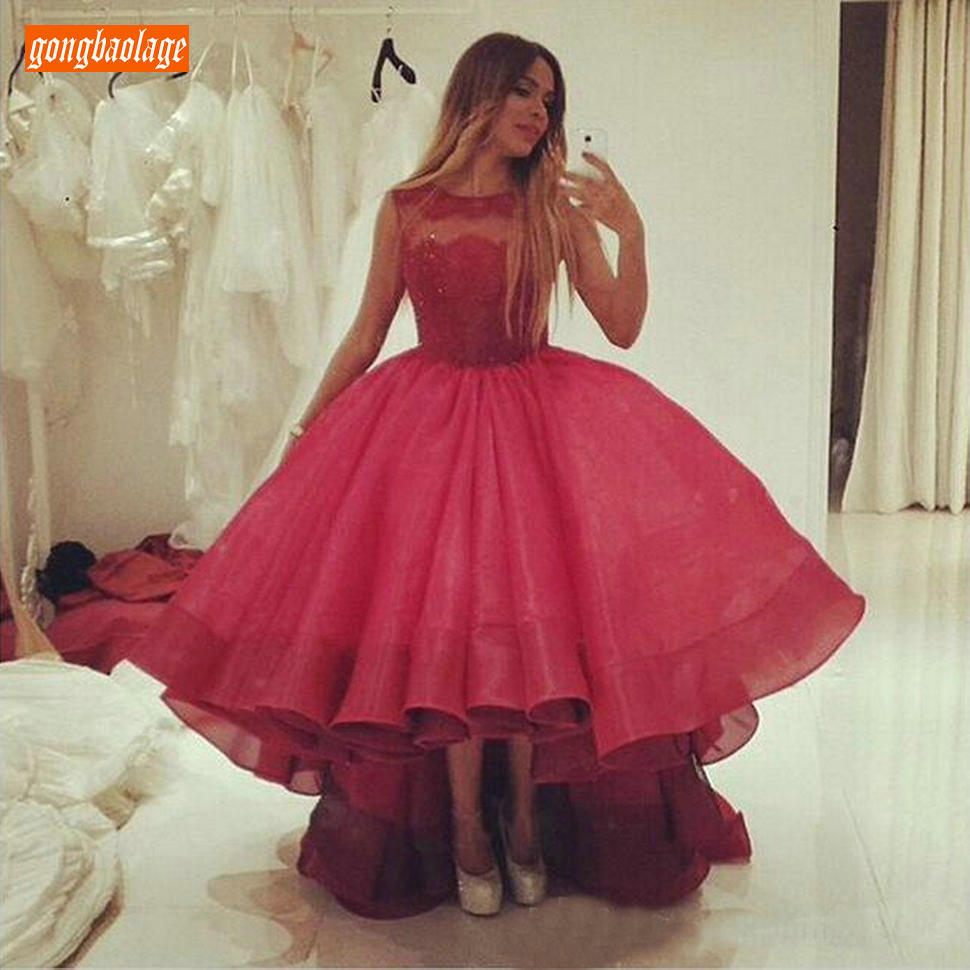Chic Ball Gown Rosy   Prom     Dresses   O Neck Organza Lace Appliques   Prom   Gowns Tea Length High Low Evening Formal   Dress   Custom Made
