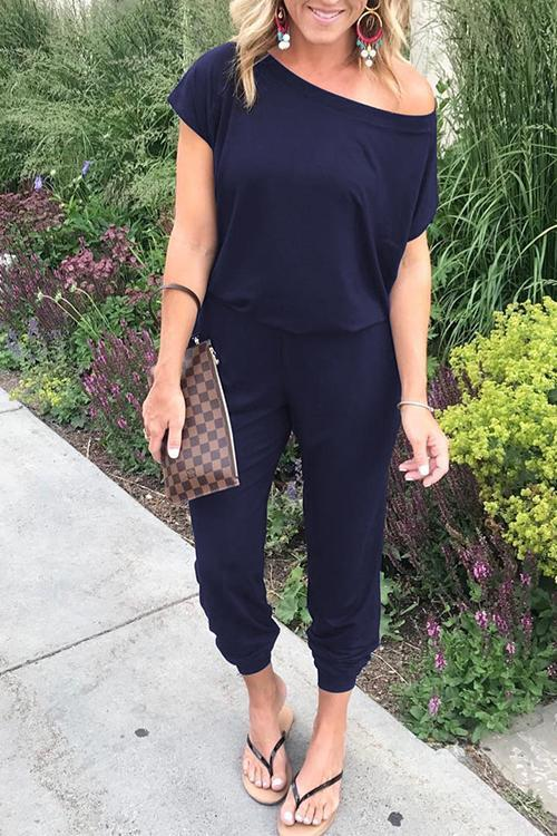 Solid Casual Sexy Off Shoulder Short Sleeve Women Suit 2019 New Arrival Women Summer Fashion Slim Elegant Long Rompers Female 28