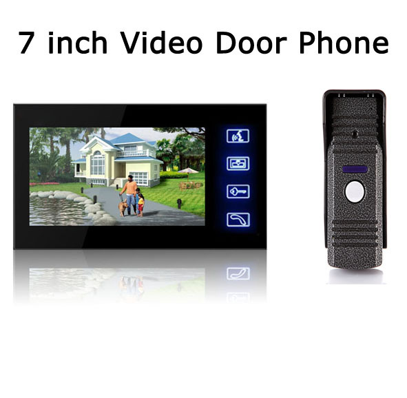 Wired Video Door Phone Audio Visual Intercom Entry System For House Villa 1V1 v70h l 1v1 xsl manufacturer 7 inch color water proof video door phone system and audio intercom door phone for villa