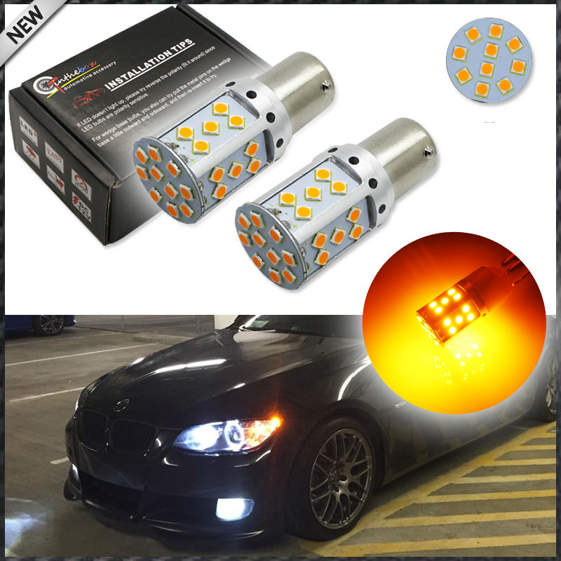 No Resistor Amber Yellow 3535 LED 1156 7506 7528 BA15s P21W  LED Bulbs For Front or Rear Turn Signal Lights (No Hyper Flash) ijdm no resistor no hyper flash 21w high power amber yellow w21w t20 7440 led bulbs for car front or rear turn signal lights