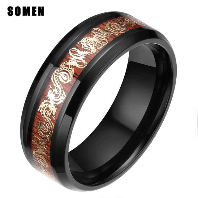 3e3e56809b6 8MM Gold Dragon Wood Inlay Black Titanium Ring Man Engagement Rings Men  Wedding Band Comfort Fit Women Fashion Jewelry For Party