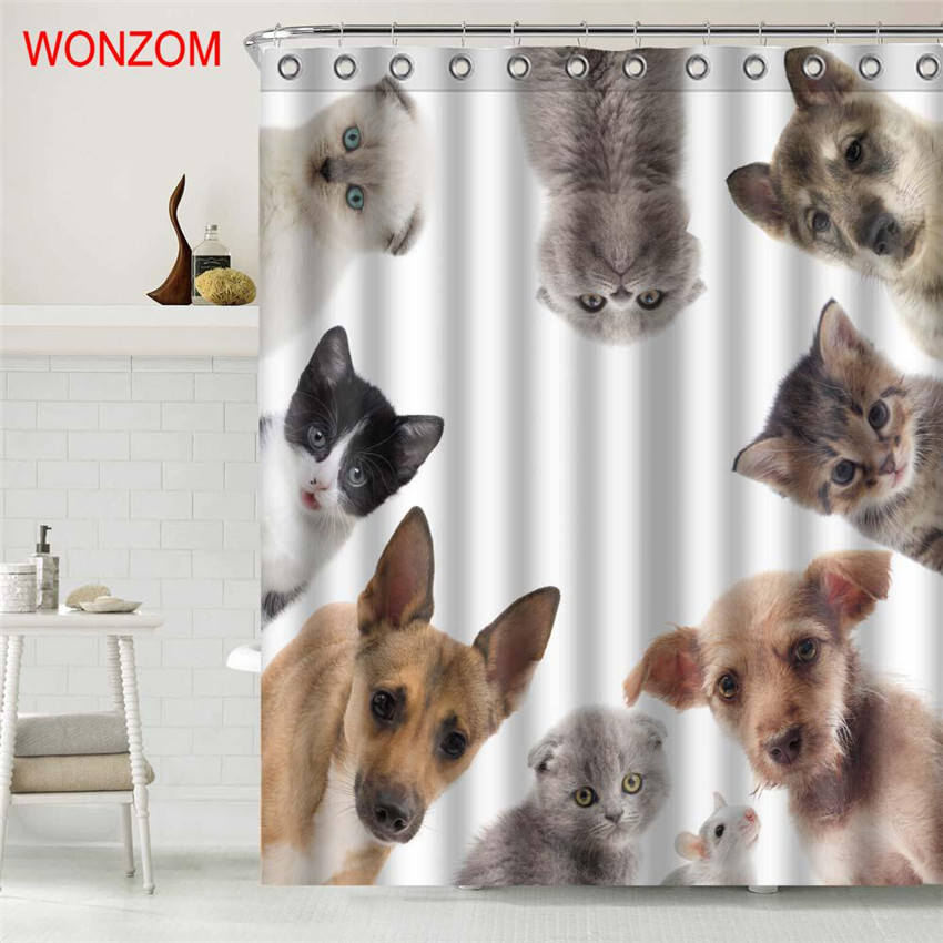 WONZOM Cute Dog Polyester Fabric Cat Shower Curtain Bathroom Decor Waterproof Animal Cortina De Bano With 12 Hooks 2017 Gift In Curtains From Home