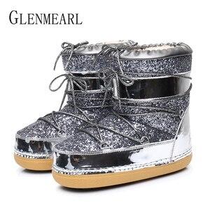 Image 4 - Зимние ботинки, Зимние ботильоны, женская обувь, меховые теплые ботинки, женская повседневная обувь, нескользящая обувь на платформе, золотые блестящие ботинки