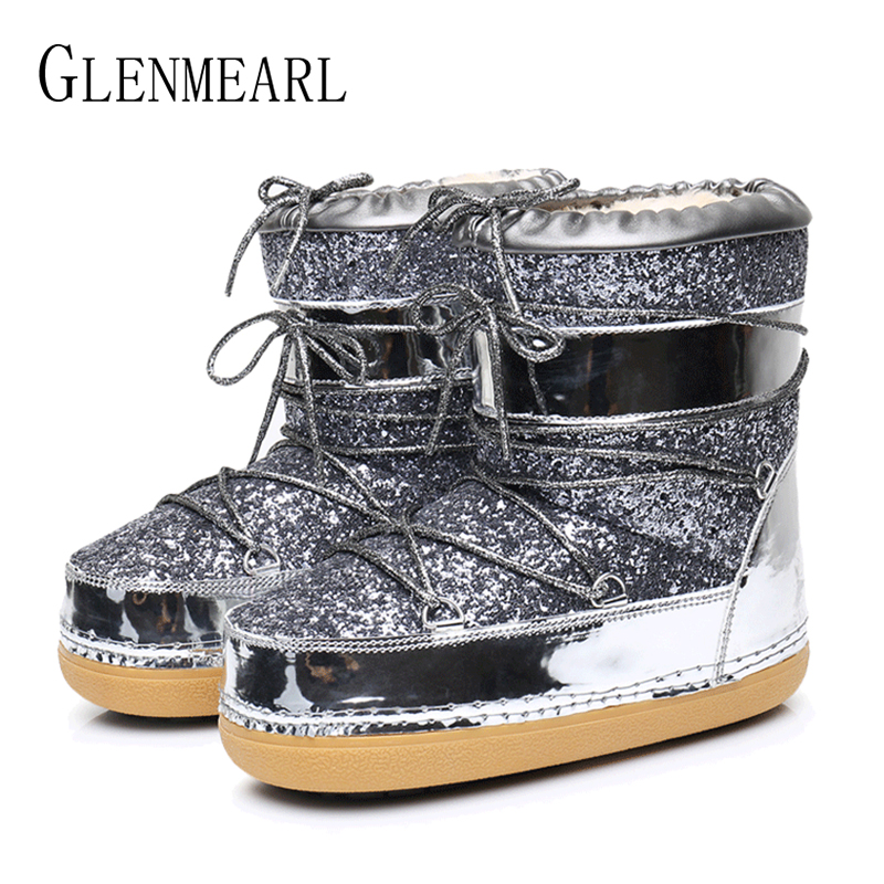 Image 2 - Snow Boots Winter Ankle Boots Women Shoes Fur Warm Boots Female Plus Size Casual Shoes Platform Non Slip Gold Bling Lack Up DE-in Ankle Boots from Shoes