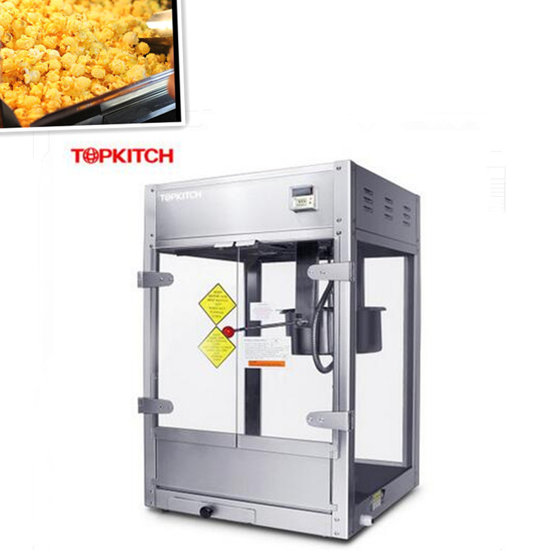220V/2KW Full-automatic Non-stick Commercial Professional Popcorn Machine With Large Capacity Popcorn Maker commercial automatic caramel making popcorn machine price with wheels