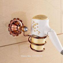 Новый Розовое Золото Пластины Ванная Комната Фен Держатель Евро Стиль Кристалл Волос Воздуходувки Стойке Настенное Крепление